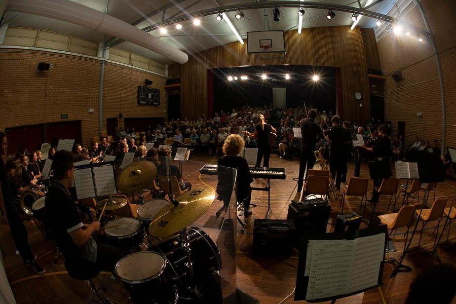 Rear view of music ensembles concert with band in foreground and audience in background