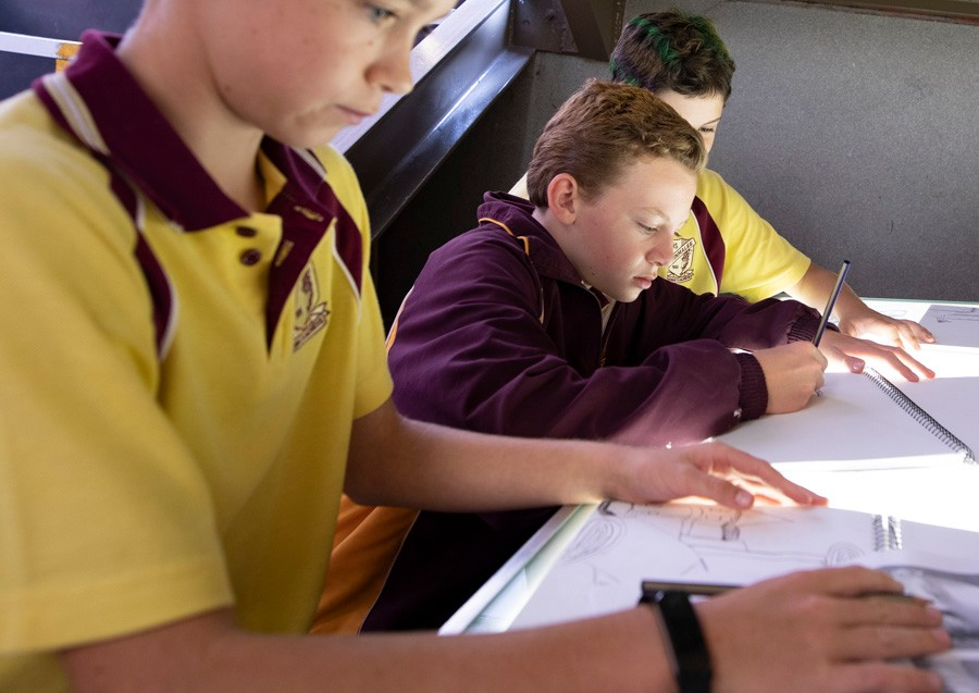 Male students in classroom working at desk.