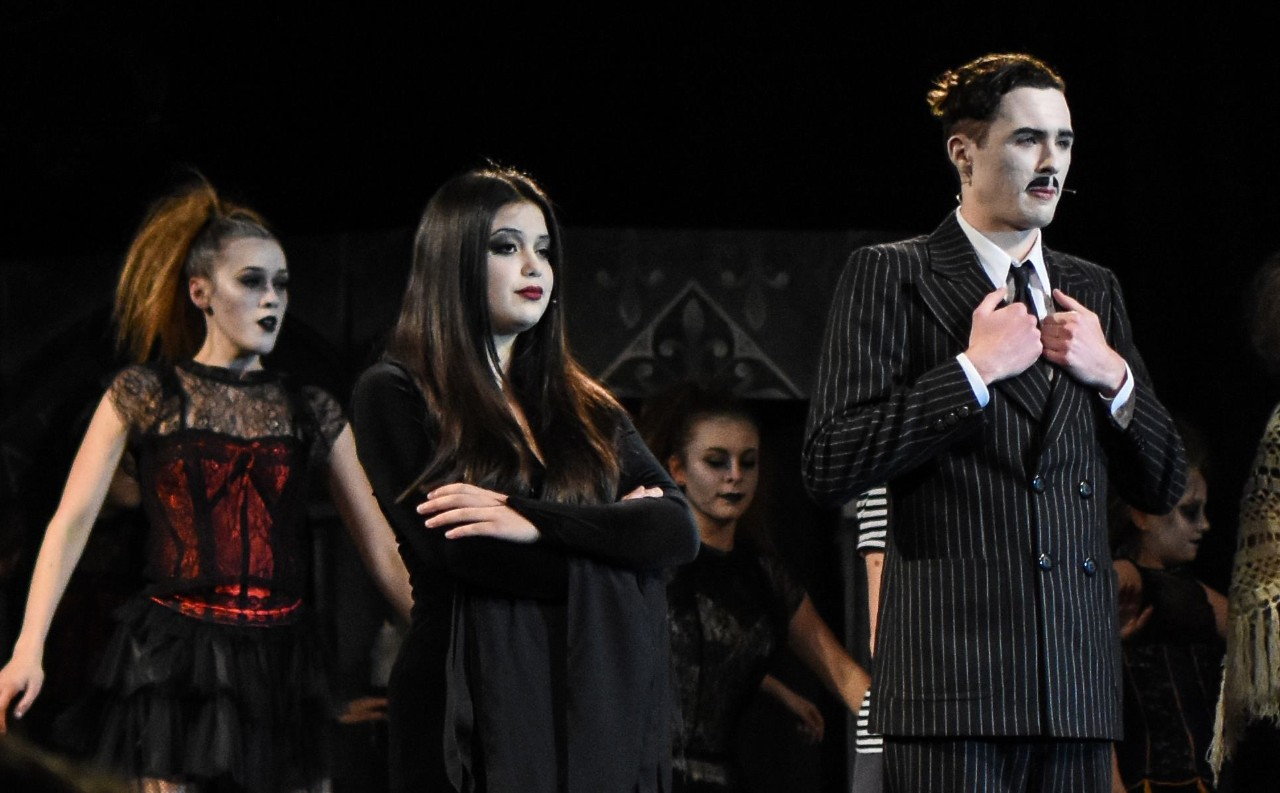 Four lead characters in The Addams Family musical